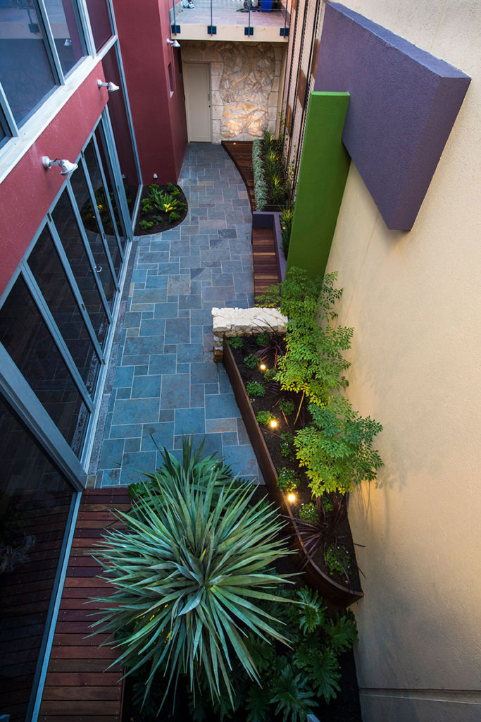 small courtyard in fremantle with bold colours