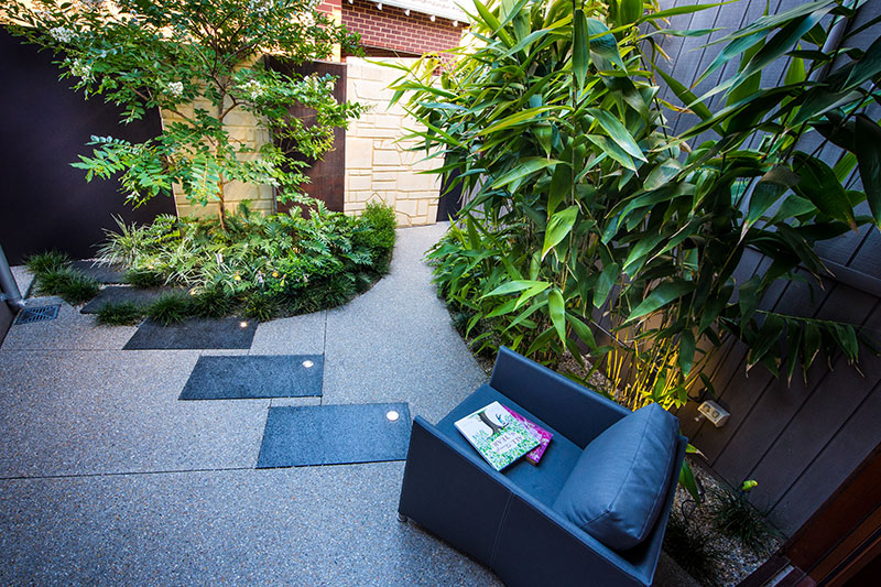 garden courtyard with copper water feature