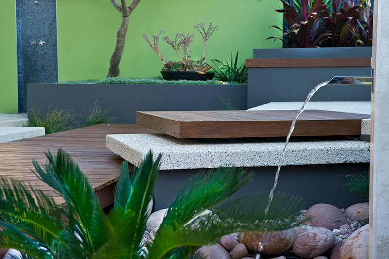 garden feature with layered steps and water blade