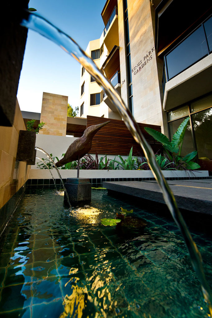 Luxury water feature design in apartment complex