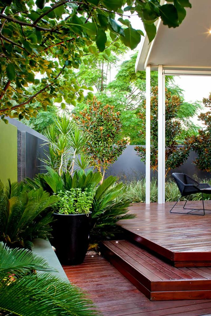 modern landscape design in Melville Perth with timber decking and lush planting