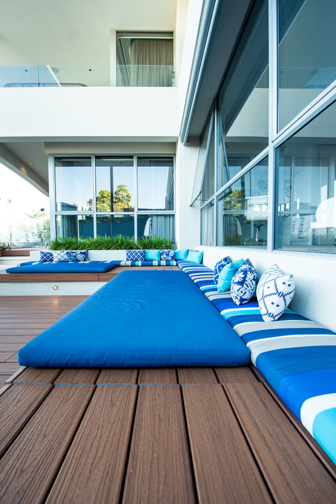 outdoor cushions on timber daybed