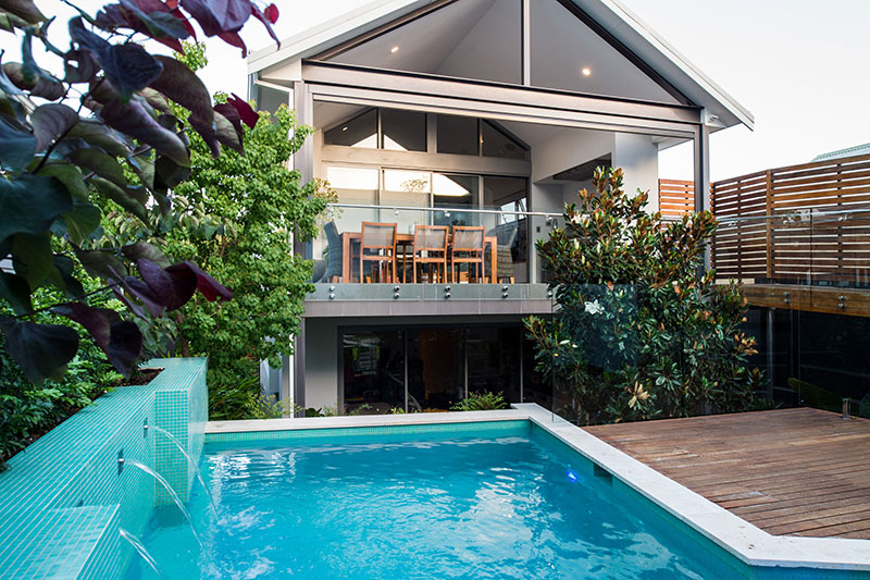 pool and luxury house